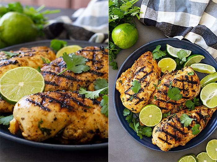 Pictures of grilled chicken on a plate garnished with cilantro and lime.
