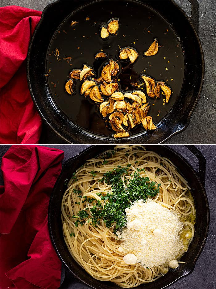 Garlic cooked in a cast iron pan and then pasta, parmesan, and parsley added.
