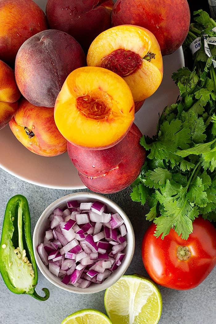 Ingredients for peach salsa.