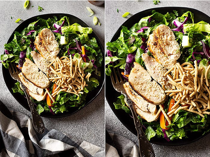 Top down view of 2 pictures of Asian Chicken Salad. Topped with a sprinkle of sesame seeds and chow mein noodles.