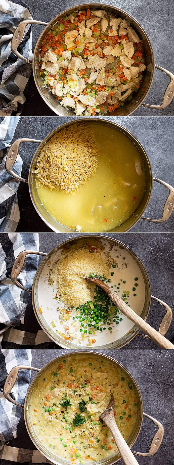 Four pictures showing the steps to make this comforting dish.
