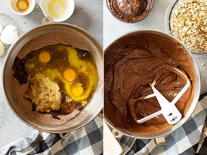 Cake batter being mixed.