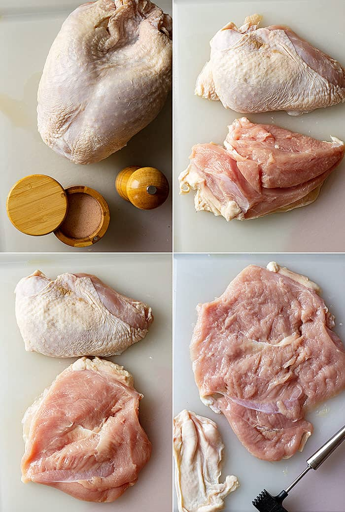 Four pictures showing how to remove the turkey breast from the bone, how to butterfly, and pound out the breast.