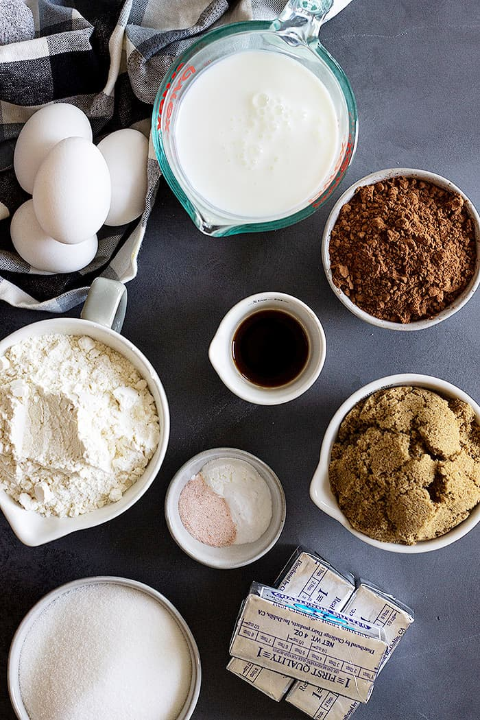 Ingredients to make a delicious devil's food cake!