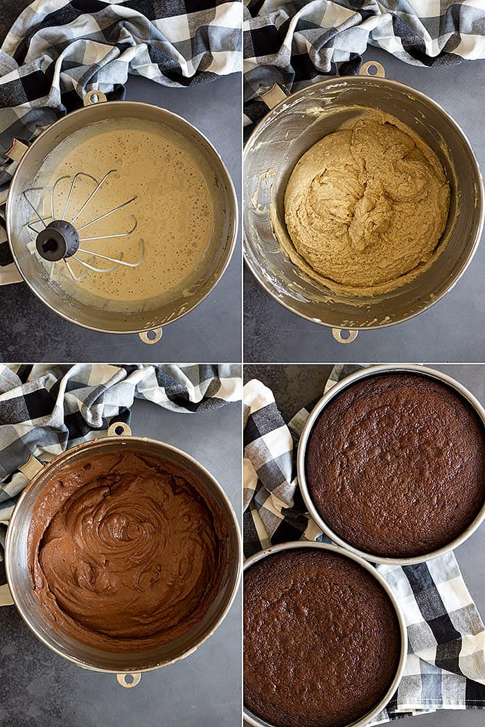 Showing the steps to making the chocolate cake batter.