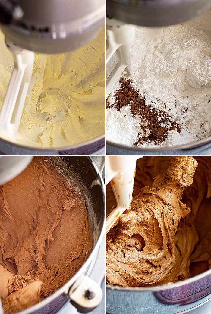 Photos showing the chocolate frosting being mixed up in a mixer.