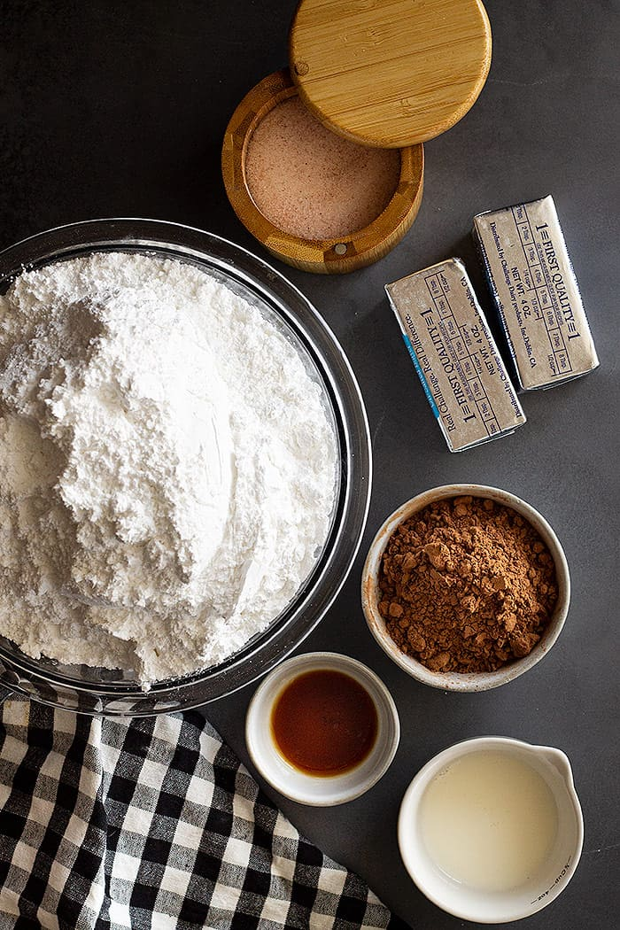 Ingredients needed to make chocolate buttercream.