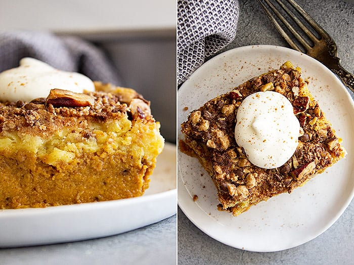 Two pictures showing the cake. One an overhead of a piece on a white plate with freshly whipped cream and a little cinnamon and the other a close up of the layers.