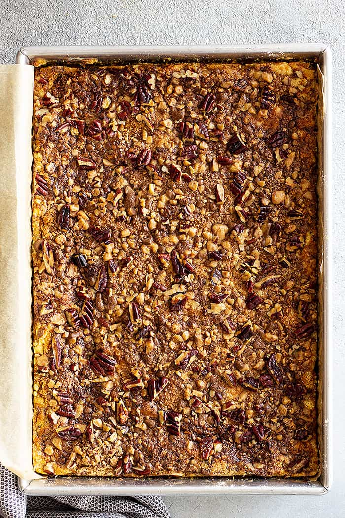 Overhead view of pumpkin dump cake. Shows off the yummy crunchy topping.