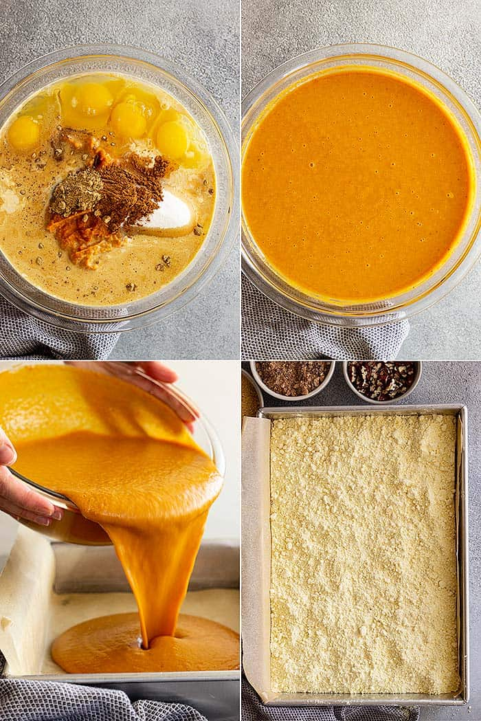 Four pictures showing how to make this delicious cake!