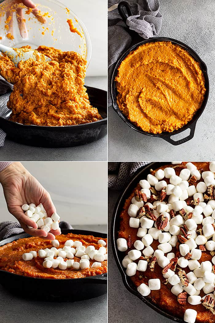 Four pictures showing pouring the sweet potatoes into a cast iron skillet, smoothing the surface, topping with marshmallows, and then with pecans.