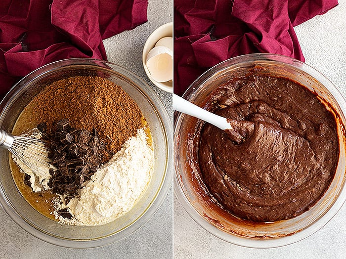 Two pictures showing adding the dry ingredients and how thick the batter is after it's all combined.