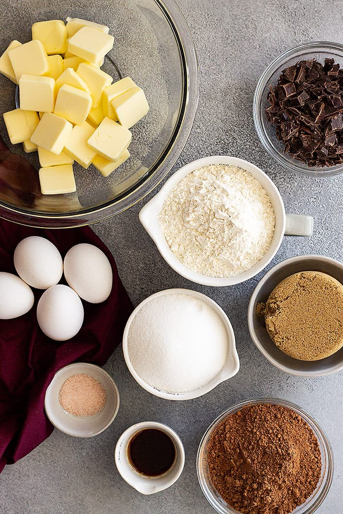 Ingredients to make the best cocoa powder brownies!