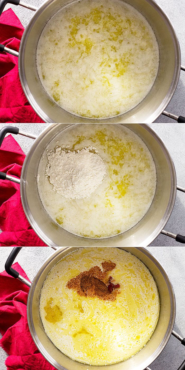 Three pictures of making the bisque.