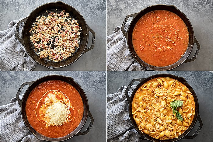 Four pictures showing the steps to make the sauce.