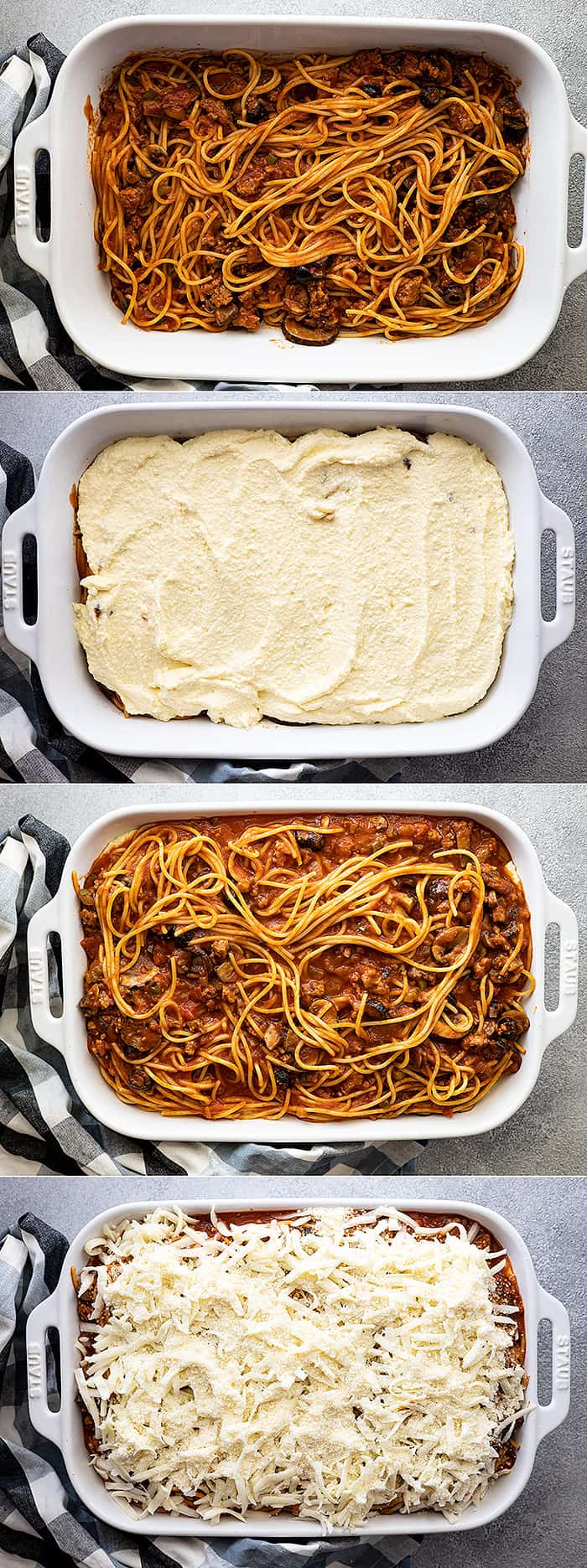 Four pictures showing how to layer the million dollar spaghetti casserole.