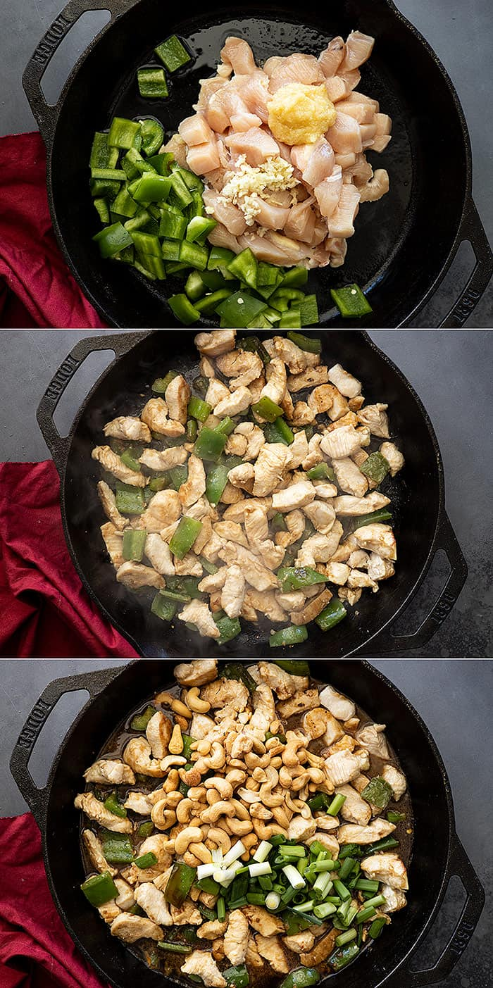 Three photos showing how to make cashew chicken.