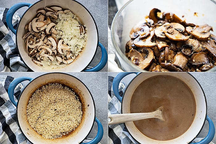 Four pictures showing how to cook the vegetables and toast the rice.
