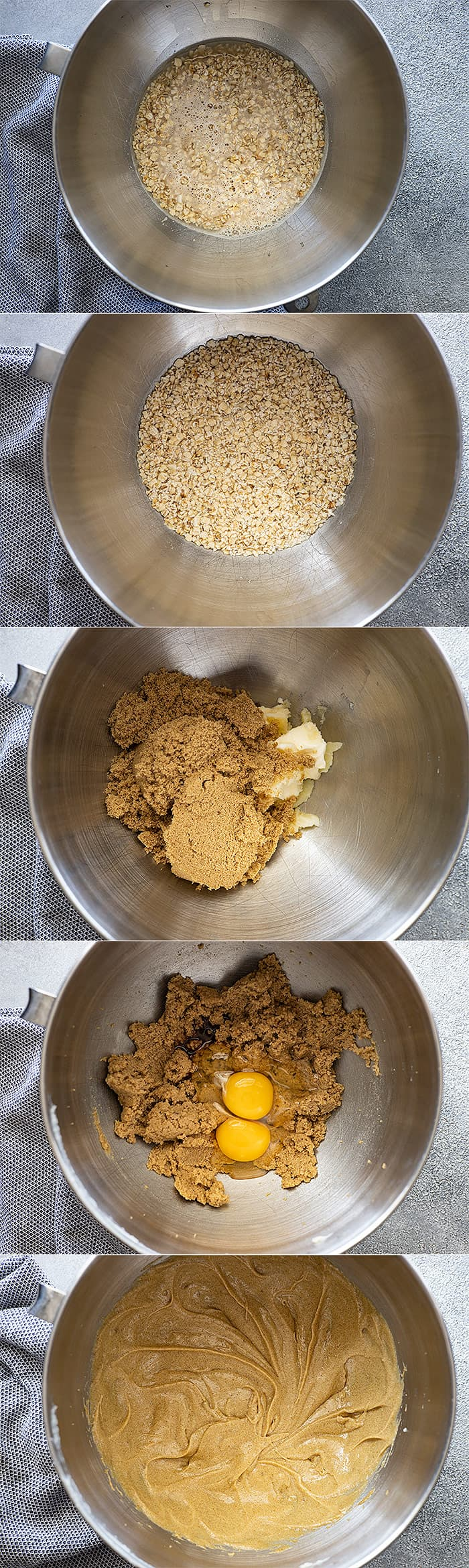 Several pictures showing the steps to make the cake.
