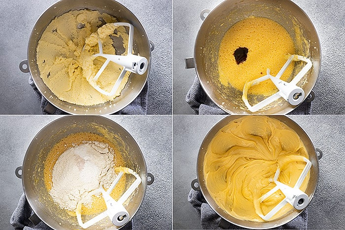 Four pictures showing how to mix up the cake batter.