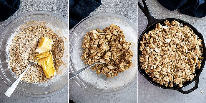 Three pictures showing how to prepare the oat topping.