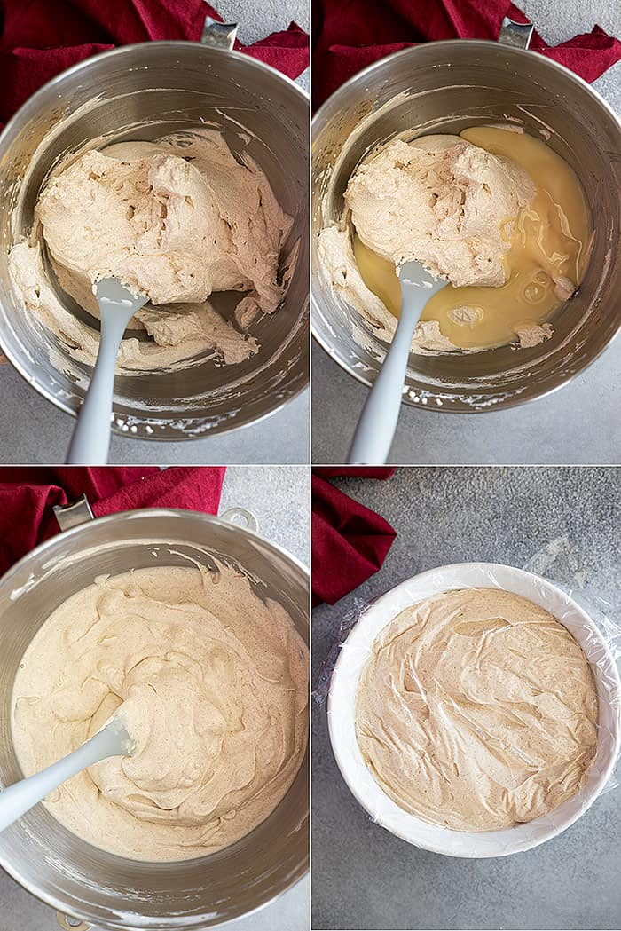 Four pictures showing how to make the no churn ice cream.