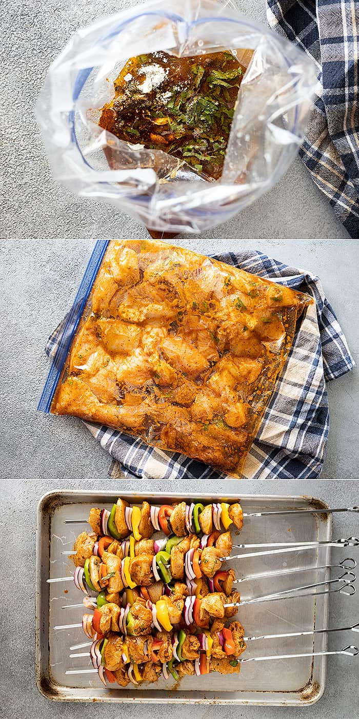 Three pictures showing the process of making the kebabs.