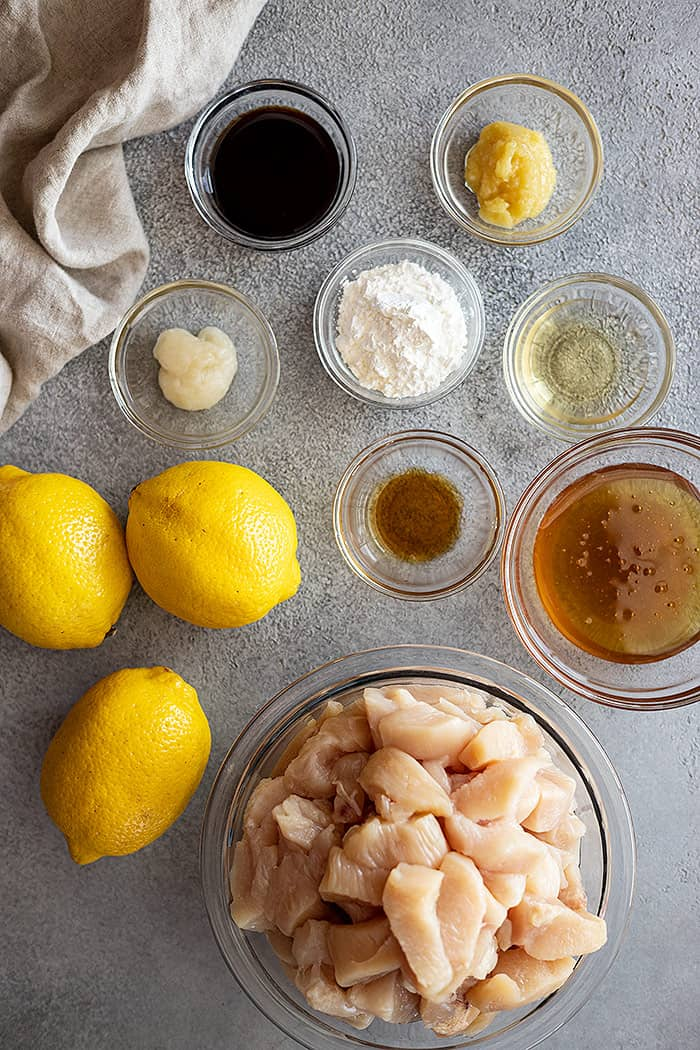 Ingredients needed to make this super easy chinese lemon chicken.