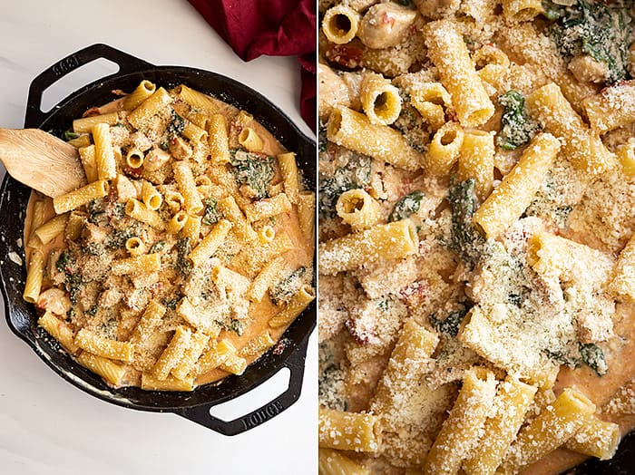 Two overhead pictures of one pot chicken florentine pasta in a cast iron skillet. One of the pictures is a close up.