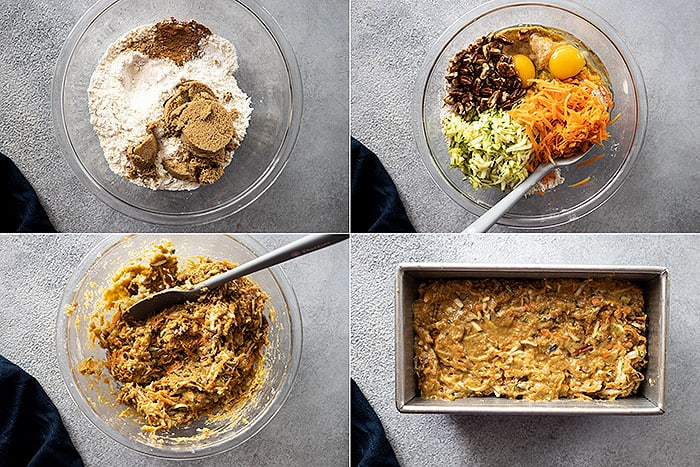 Four pictures showing how to make zucchini carrot bread.