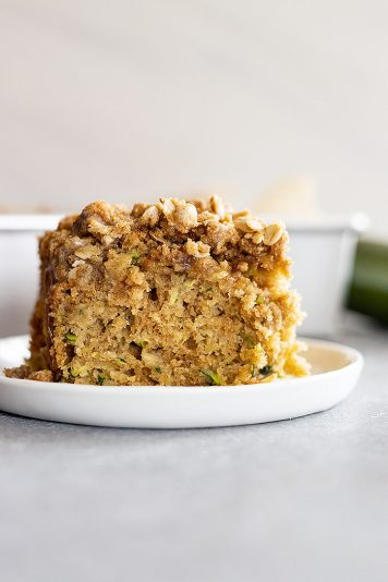 A large serving of zucchini coffee cake with lots of streusel topping!